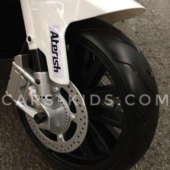 Электромотоцикл BMW S1000PR черный (резина, страховочные колеса, музыка, свет фар)