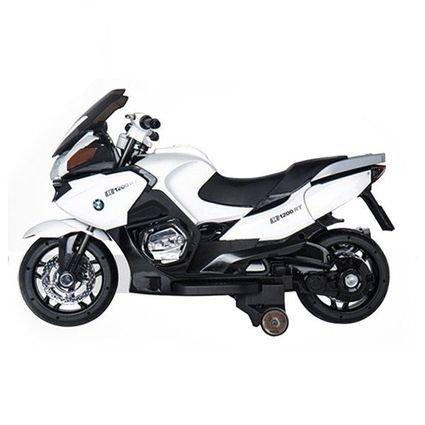 Электромобиль мотоцикл BMW R1200RT White 12V (резиновые колеса, кожаное кресло, музыка, свет фар)