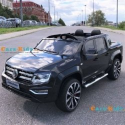 Электромобиль Volkswagen Amarok 4WD черный (сенсорный дисплей, 2х местный, резина, кожа, пульт, музыка)