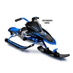 Снегокат Yamaha, лицензионный синий (свет фар, мягкое кресло, тормоз, трос, удобные ручки)